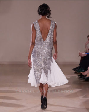 Embellished Sequin Asymmetrical Godet Dress