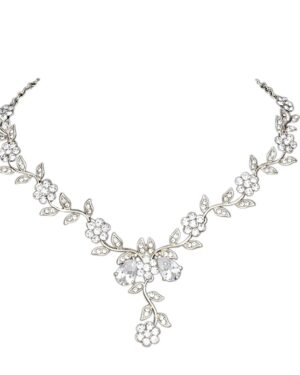 Athena Collection – Crystal Vine Necklace Set – (Silver)
