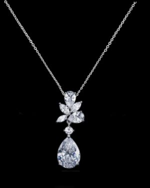 Cubic Zirconia Collection – Exquisite Starlet Necklace – Cznk90 – Silver