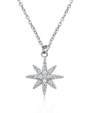 Athena Collection – Crystal Star Necklace – Cznk85 Silver