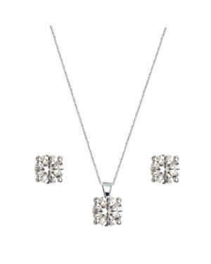 Cubic Zirconia Collection – Crystal Solitaire Necklace Set – Silver