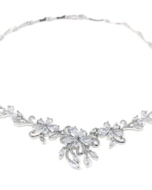 Cubic Zirconia Collection – Exquisite Starlet Necklace Set – Cznk91 Silver