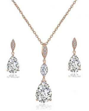 Cubic Zirconia – Bridal Necklace Set – Rose Gold