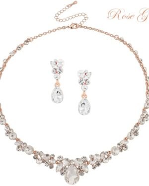 Athena Collection – Crystal Enchantment Necklace Set – Rose Gold