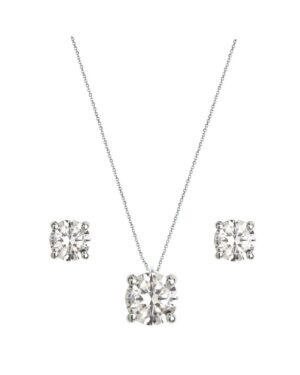 Cubic Zirconia Collection – Dainty Crystal Necklace Set – Silver