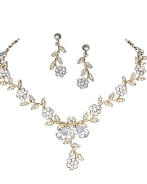 Athena Collection – Crystal Vine Necklace Set – (Gold)