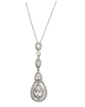 Cubic Zirconia Collection – Starlet Sparkle Necklace – Cznk75 (Silver)