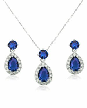 Cubic Zirconia Collection – Dazzling Crystal Drop Necklace Set – Sapphire