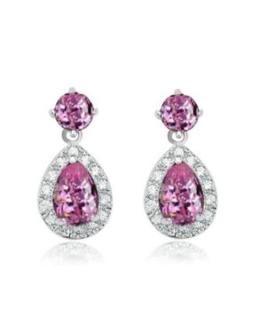 Cubic Zirconia Collection – Dazzling Crystal Drop Necklace Set – Pink