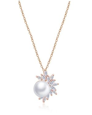 Cubic Zirconia Collection – Dazzling Pearl Pendant – Rose Gold