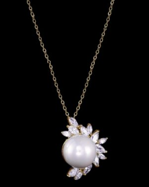 Cubic Zirconia Collection – Dazzling Pearl Pendant – Gold