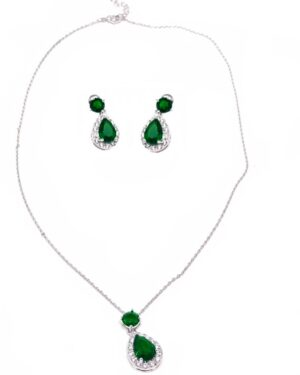Cubic Zirconia Collection – Dazzling Crystal Drop Necklace Set –  Emerald Green