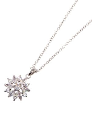 Cubic Zirconia – Crystal Sparkle Necklace – Silver