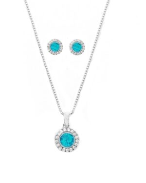 Cubic Zirconia Collection – Chic Crystal Necklace Set – (Aqua)