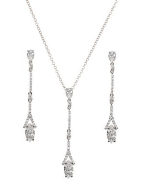 Cubic Zirconia Collection – Dainty Sparkle Necklace Set – Silver