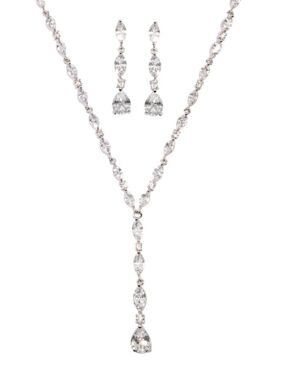 Cibic Zirconia Collection – Crystal Drop Necklace Set – 3 Piece Set
