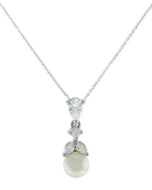 Cubic Zirconia Collection – Graceful Pearl Necklace- Silver (Cznk76)