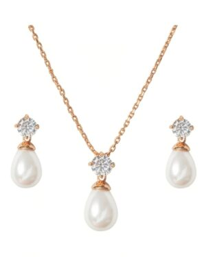 Cubic Zirconia Collection – Timeless Elegance Necklace Set- (Cznk74Aa) Rose Gold