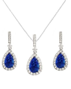 Cubic Zirconia Collection – Crystal Shimmer Necklace Set – (Sapphire)