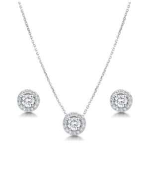 Cubic Zirconia Collection – Crystal Sparkle Necklace Set -Silver