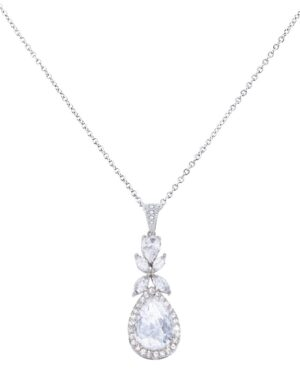 Cubic Zirconia Collection – Crystal Sparkle Necklace – (Silver)