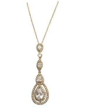 Cubic Zirconia Collection – Starlet Sparkle Necklace – Cznk75 (Gold)