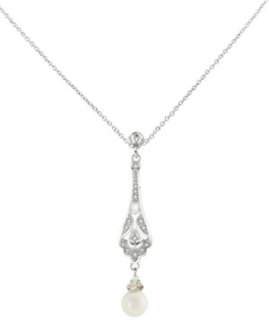 Cubic Zirconia Collection – Vintage Crystal Drop Necklace – Cznk98 Silver