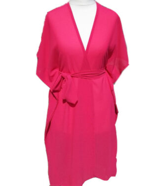Women Chiffon Fushia Pink Long Sleeve Maxi Dress