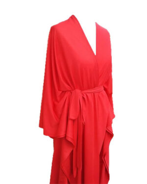 Super Hot Red Color Jersey Fabric Long Sleeve Maxi Dress