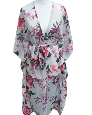 Party Off White With Flower Print Short Sleeve Chiffon Maxi Dress