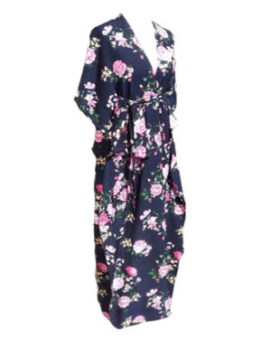 Awesome Viscose Flower Pattern on Navy Blue Long Maxi