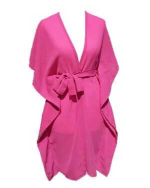 Exclusive Hot Chiffon Short Sleeve Maxi Dress Pink